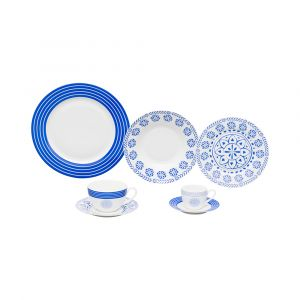 AP JANTAR 42PC PORCELANA HIGH WHITE BLUE GEOMETRY WOLFF ROJEMAC 1