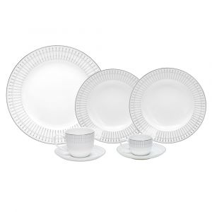 AP JANTAR 42PC PORCELANA BONE CHINA KIEV PRATEADO WOLFF ROJEMAC 1