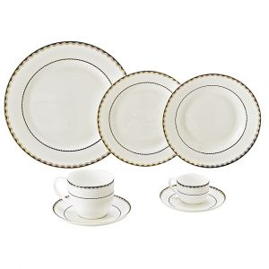 AP JANTAR 42PC PORCELANA BONE CHINA BLUE GOLD ALTO RELEVO WOLFF ROJEMAC 1