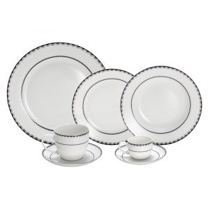 AP JANTAR 42PC PORCELANA BONE CHINA BLUE SILVER ALTO RELEVO WOLFF ROJEMAC 1
