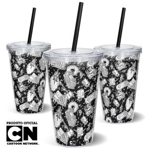 Copo Canudo 600ml Cartoon Network OFF Mix Hora da Aventura 1
