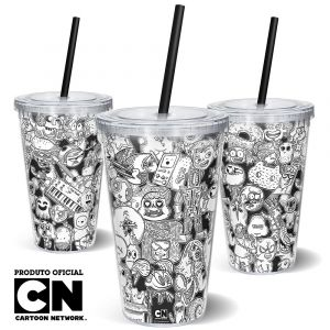Copo Canudo 600ml Cartoon Network OFF Mix 2 1