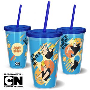 Copo Canudo 600ml Cartoon Network JOHNNY BRAVO BEAUTIFUL - Beek 1