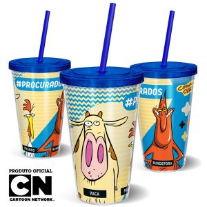 Copo Canudo 600ml Cartoon Network Vaca e o Frango PROCURADOS - Beek 1